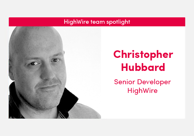 HighWire team spotlight with our Senior Developer, Christopher Hubbard