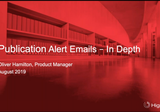 Webinar: stay up to date with HighWire's upgraded publication alerts service