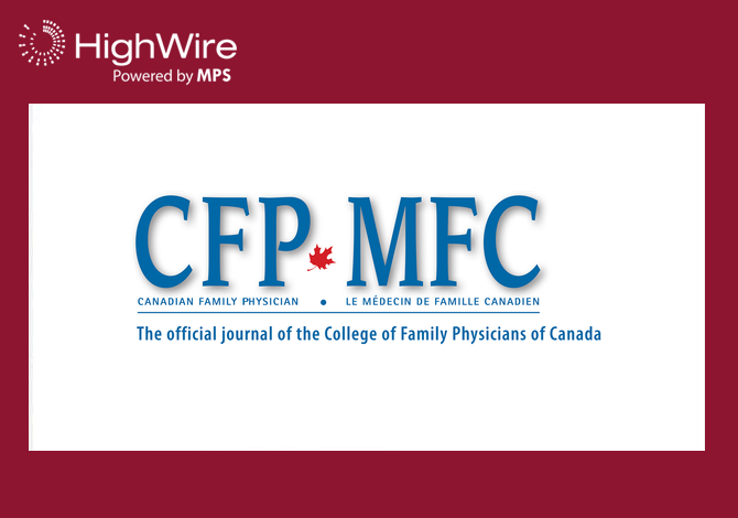 College of Family Physicians of Canada Selects HighWire to Host Journals for Another 3 Years